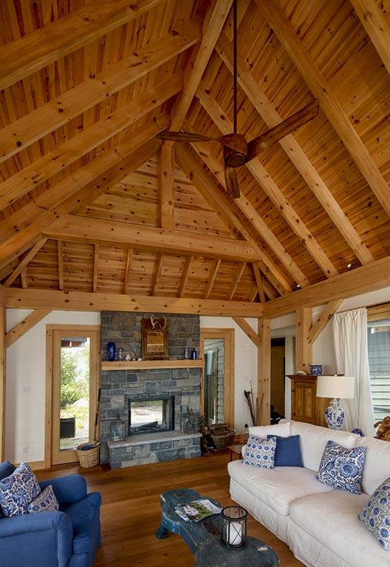 Normerica Timber Frame, Architects & Builders, Collaboration, Lakeside Cottage, Georgian Bay, Living Room, Fireplace