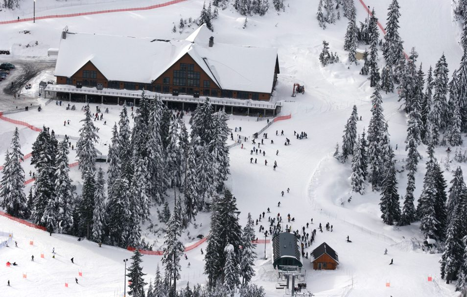 Normerica Timber Frame, Commercial Project, Cypress Mountain Day Lodge, Ski Resort, West Vancouver, British Columbia, Exterior, Aerial View