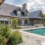 Normerica Timber Frame, Exterior, Country House, Backyard, Pool, Rear View