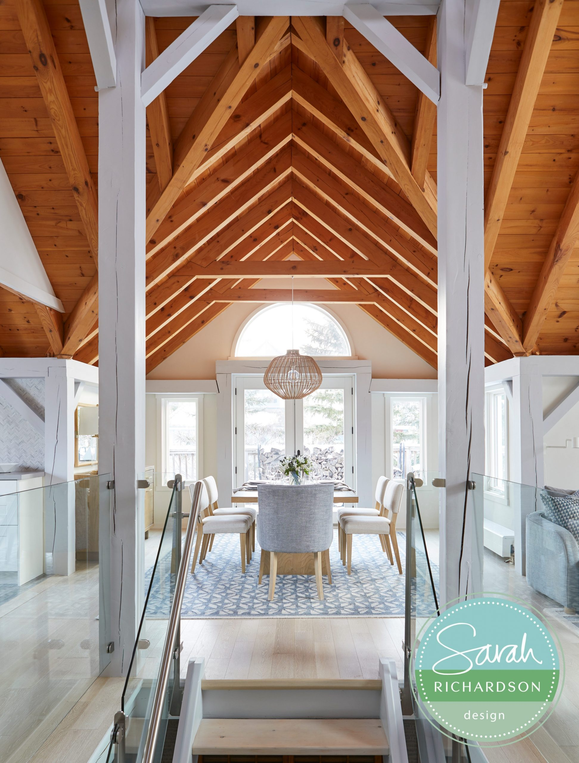Normerica Timber Frames, Sarah Richardson Design, Dining Room, Cathedral Ceiling, Painted Timbers, Natural Timbers
