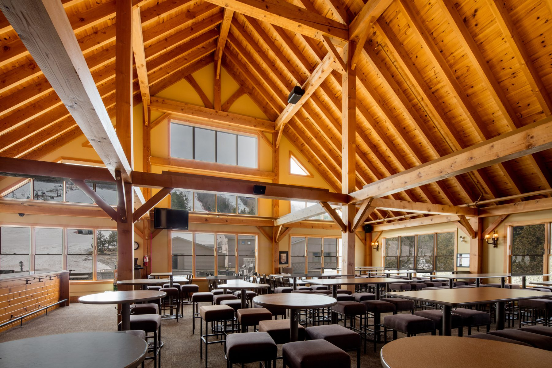 Normerica Timber Frame, Commercial Project, Craigleith Ski Club, Ski Resort, Collingwood, Ontario, Interior, Hill View
