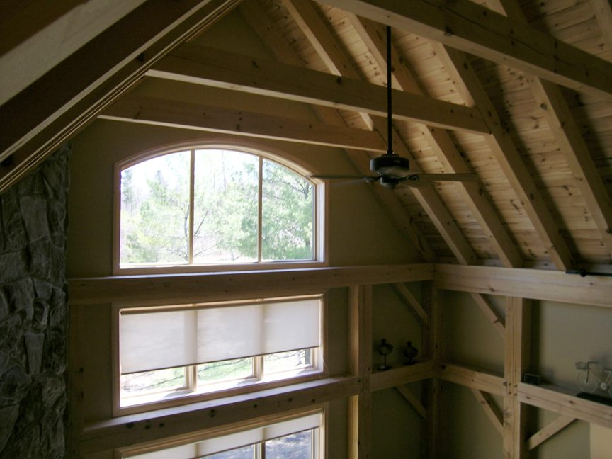 Normerica Timber Frame, Commercial Project, The Cottages at Diamond 'In the Ruff', Muskoka Lakes, Ontario, Interior, Ceiling