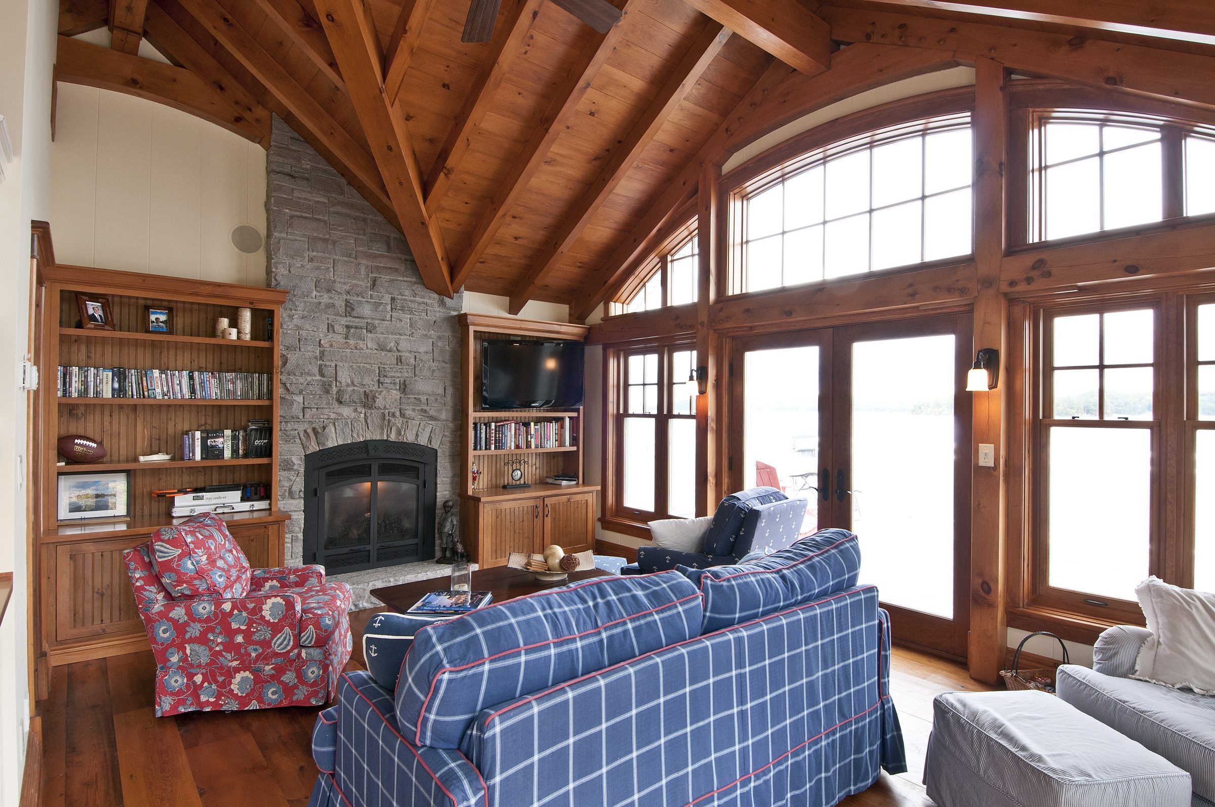 Normerica Timber Frame, Interior, Cottage, Family Room, Fireplace, Cathedral Ceiling