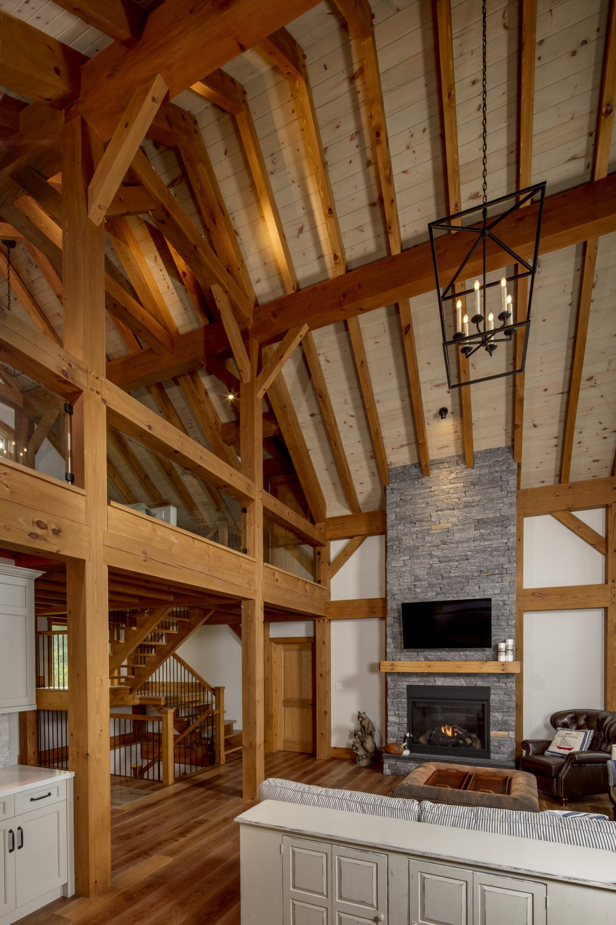Normerica Timber Frame, Interior, Cottage, Living Room, Great Room, Fireplace, Open Concept, Cathedral Ceiling