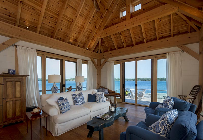 Normerica Timber Frame, Interior, Cottage, Living Room, View of the Lake