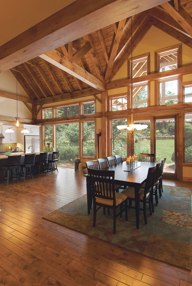 Normerica Timber Frame, Interior, Dining Room, Cathedral Ceiling