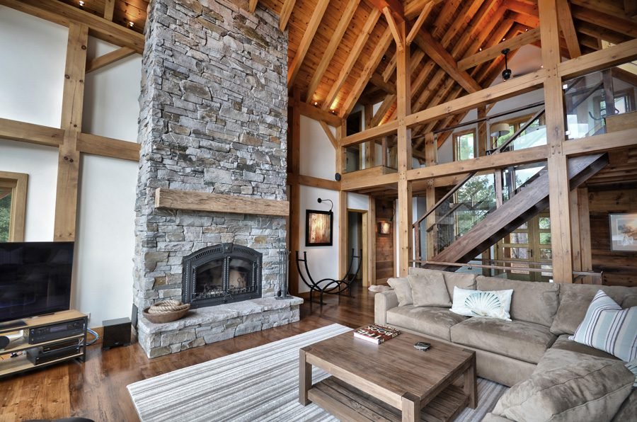 Normerica Timber Frame, Interior, Great Room, Living Room, Fireplace, Glass Stairs