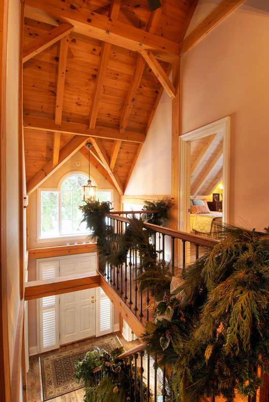 Normerica Timber Frame, Interior, Stairs, Cathedral Ceiling