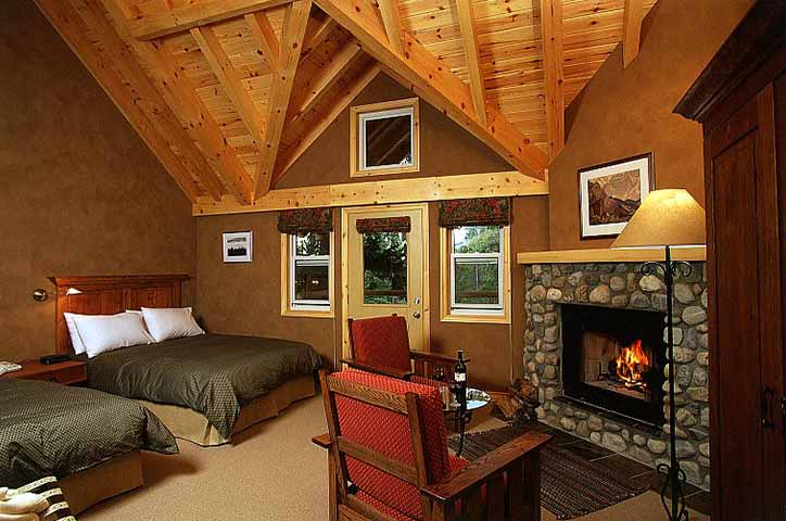 Normerica Timber Frames, Commercial Projects, Buffalo Mountain Lodge, Hotel, Banff, Canada, Interior, Bedroom