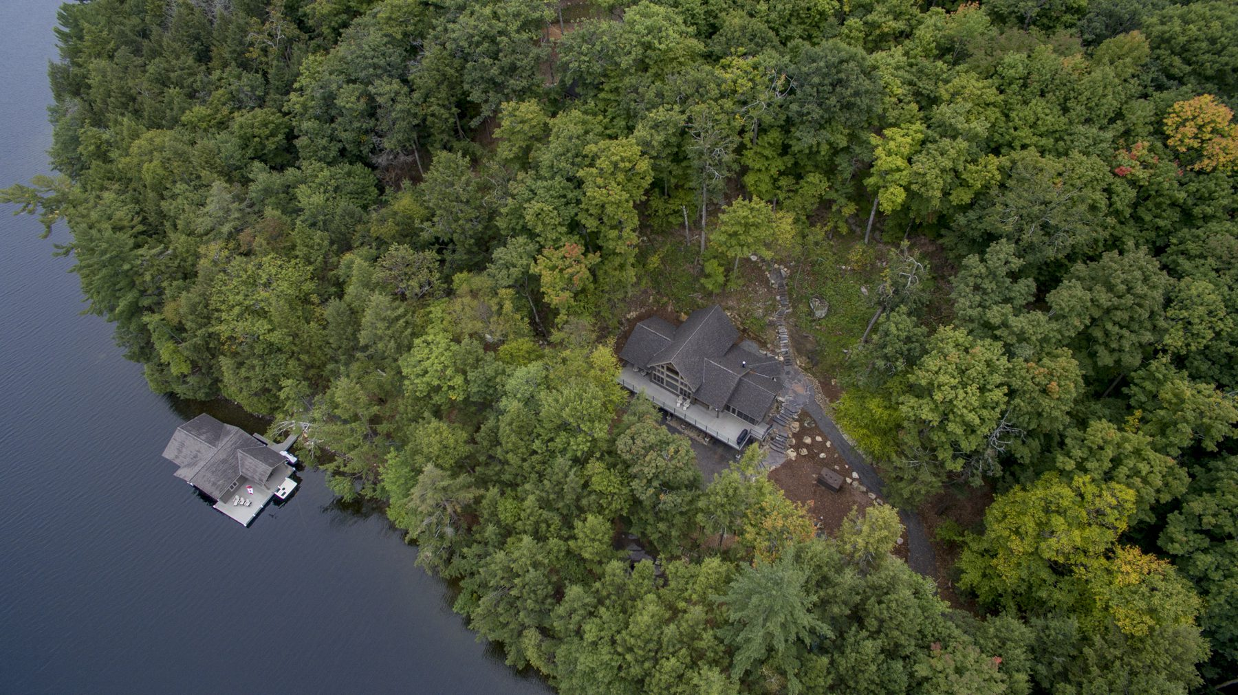 Normerica Timber Frame, Exterior, Cottage, Lake, Boathouse, Aerial View