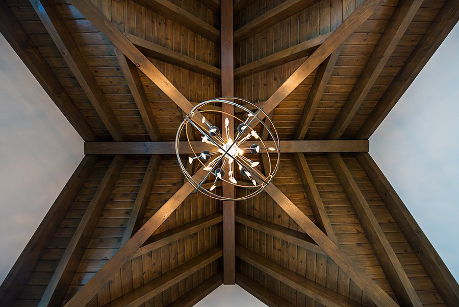 Normerica Timber Frame, Interior, Cottage, Bedroom, Cathedral Ceiling