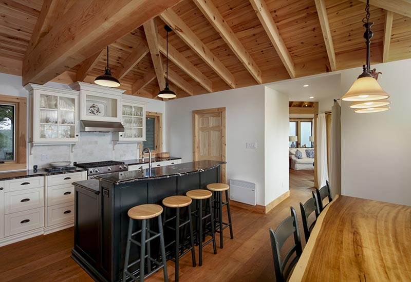 Normerica Timber Frame, Interior, Cottage, Kitchen, Dining Room