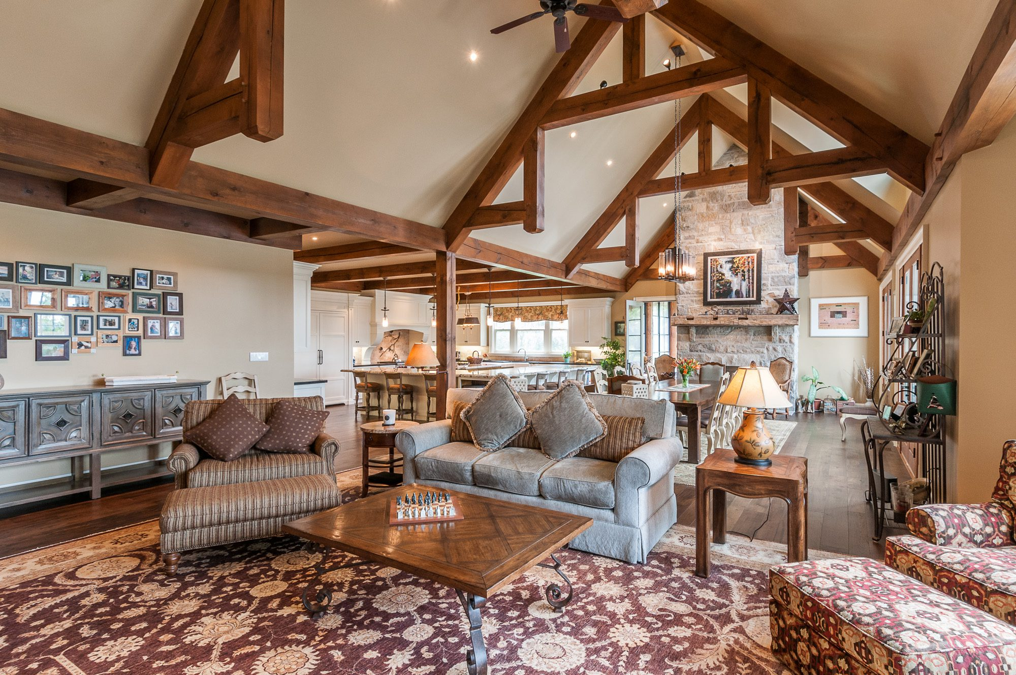 Normerica Timber Frame, Interior, Country House, Open Concept, Living Room, Great Room