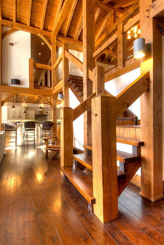 Normerica Timber Frame, Interior, Custom, Cottage, Stairs, Open Concept