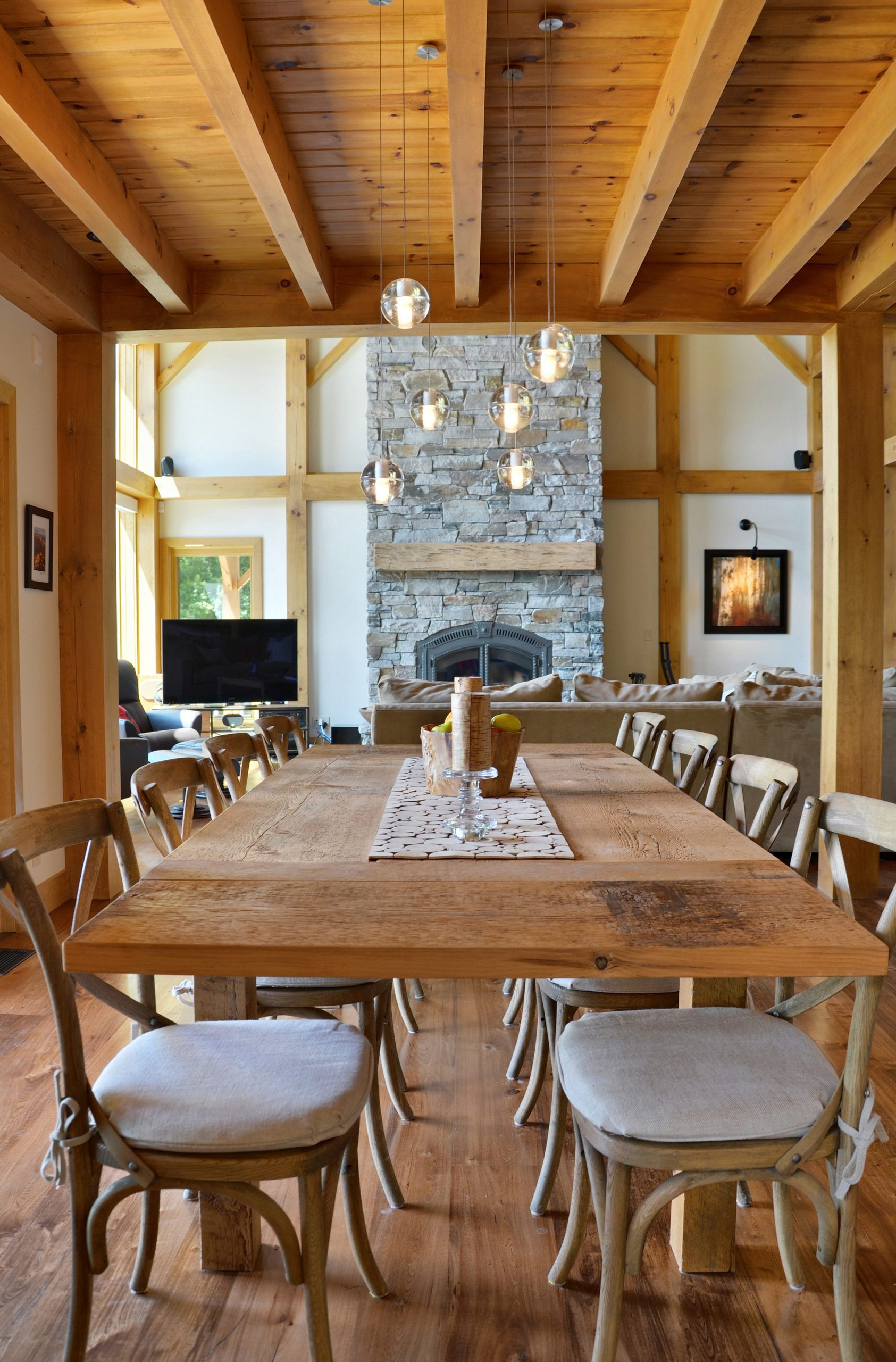 Normerica Timber Frame, Interior, Fireplace, Dining Room
