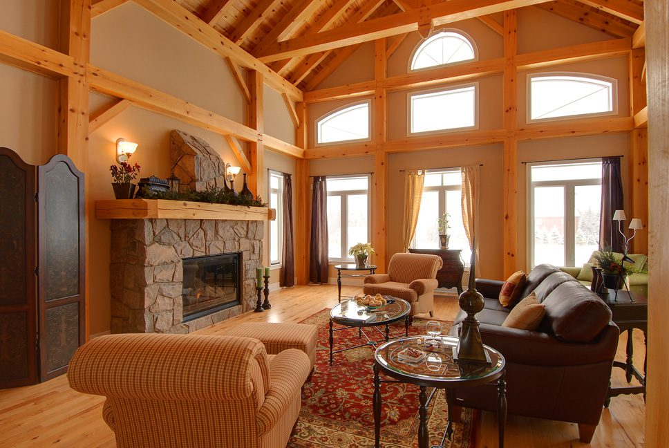Normerica Timber Frame, Interior, Living Room, Great Room, Fireplace, Cathedral Ceiling