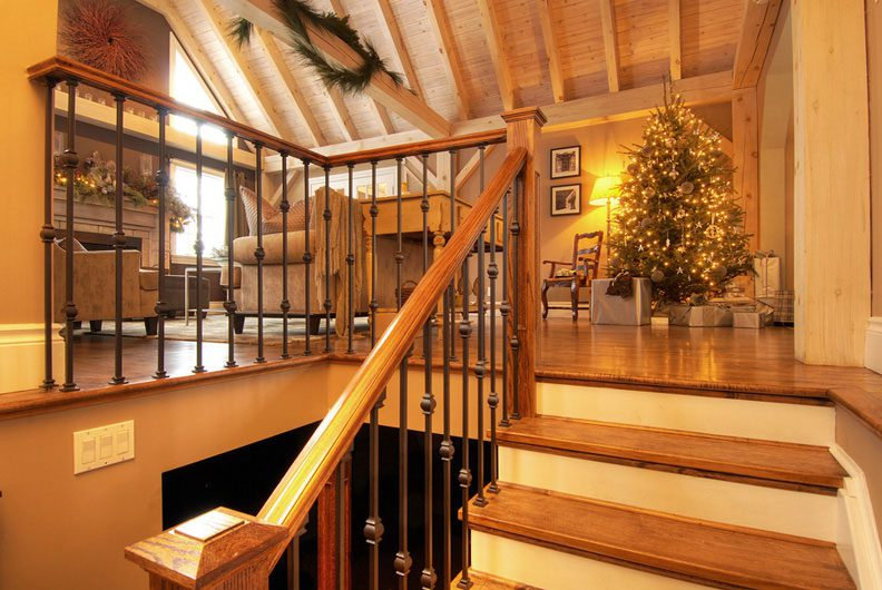 Normerica Timber Frame, Interior, Stairs, Living Room