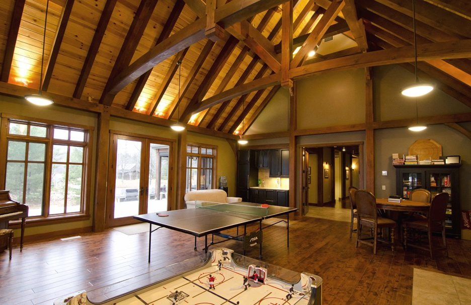 Normerica Timber Frame, Interior, Cottage, Games Room, Recreation Room, Cathedral Ceiling