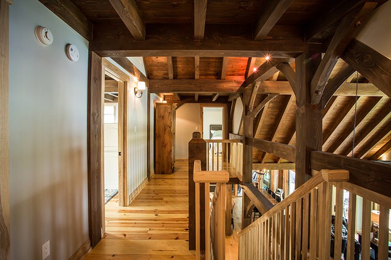 Normerica Timber Frame, Interior, Cottage, Hallway, Stairs, Loft