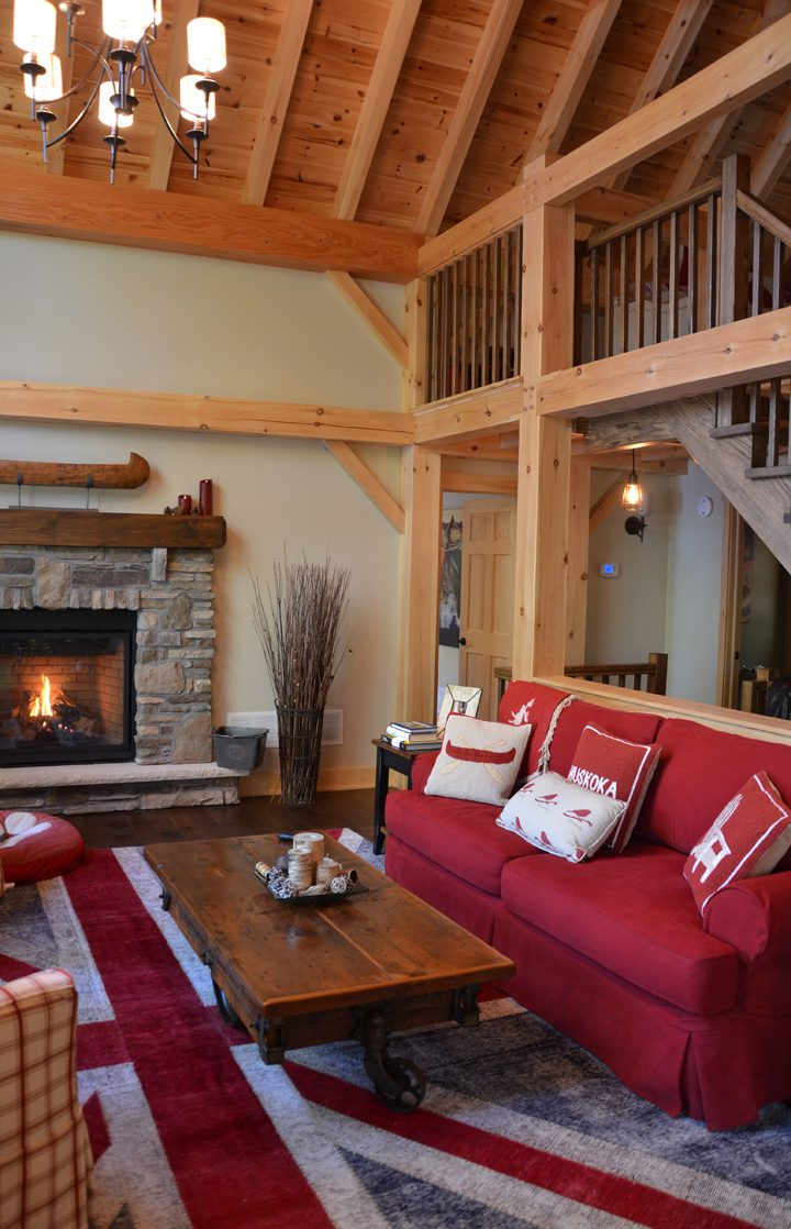 Normerica Timber Frame, Interior, Cottage, Living Room, Great Room, Cathedral Ceiling, Fireplace, Loft, Stairs