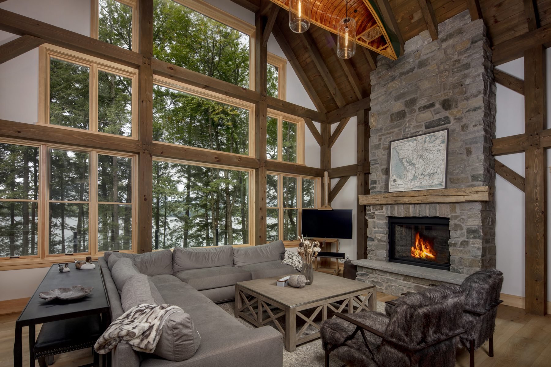 Normerica Timber Frame, Interior, Cottage, Living Room, Great Room, Fireplace, Cathedral Ceiling