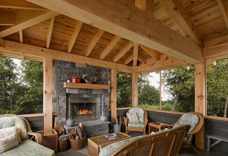 Normerica Timber Frame, Interior, Cottage, Screened Porch, Fireplace
