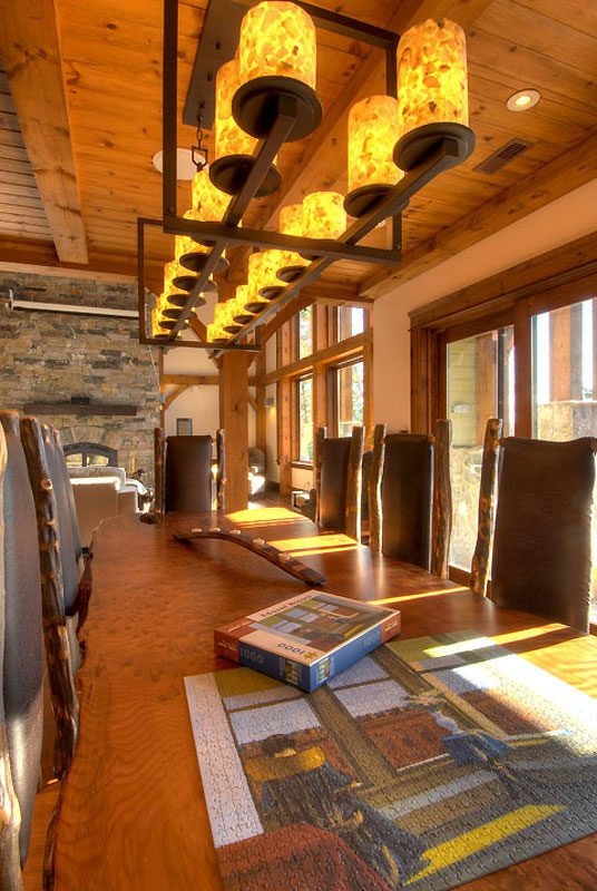 Normerica Timber Frame, Interior, Custom, Cottage, Fireplace, Dining Room