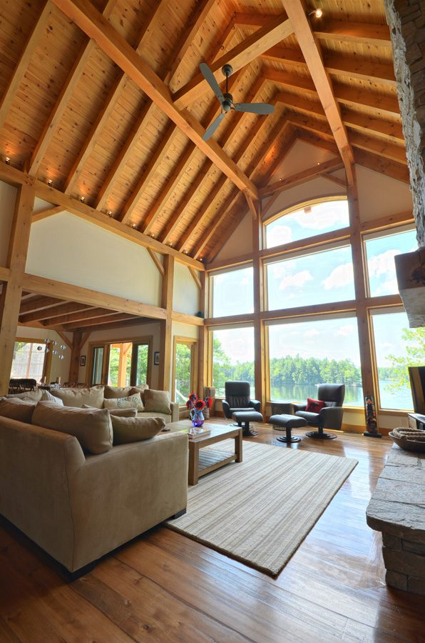 Normerica Timber Frame,Cottage, Interior, Living Room, Great Room, Cathedral Ceiling