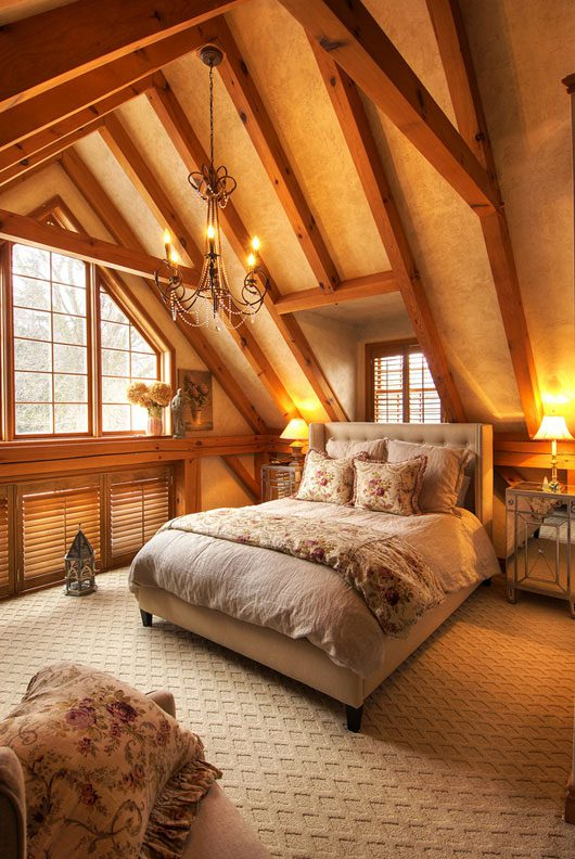 Normerica Timber Frame, Interior, Bedroom, Cathedral Ceiling