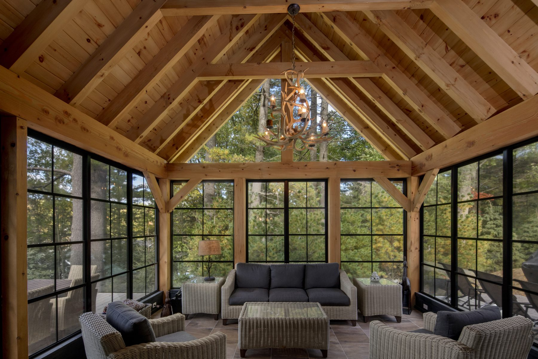 Normerica Timber Frame, Interior, Cottage, Muskoka Room, Screened Porch
