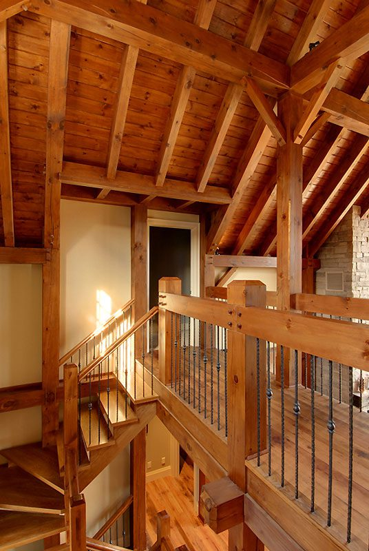 Normerica Timber Frame, Interior, Cottage, Stairs, Loft, Hallway