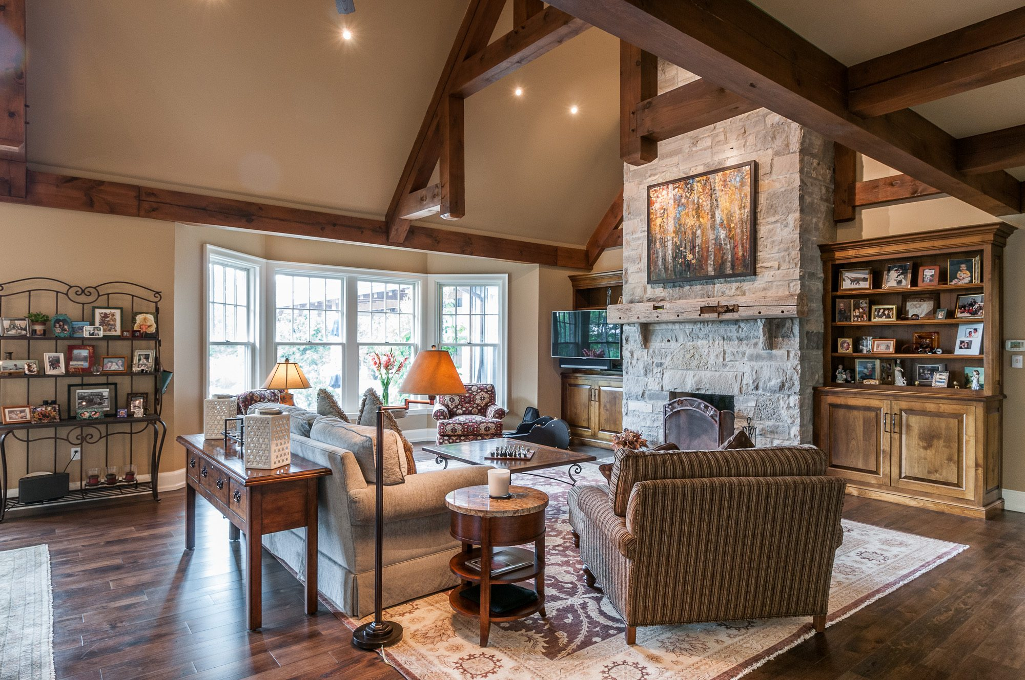 Normerica Timber Frame, Interior, Country House, Living Room, Great Room, Fireplace