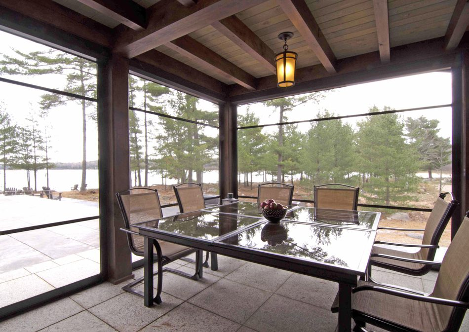 Normerica Timber Frame, Interior, Cottage, Screened Room, Lake View