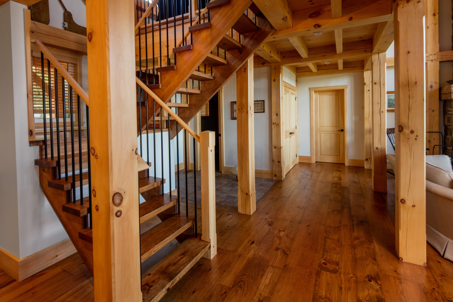 Normerica Timber Frame, Interior, Cottage, Stairs, Open Concept