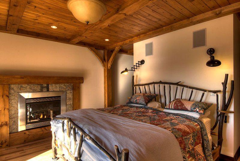 Normerica Timber Frame, Interior, Custom, Cottage, Fireplace, Bedroom
