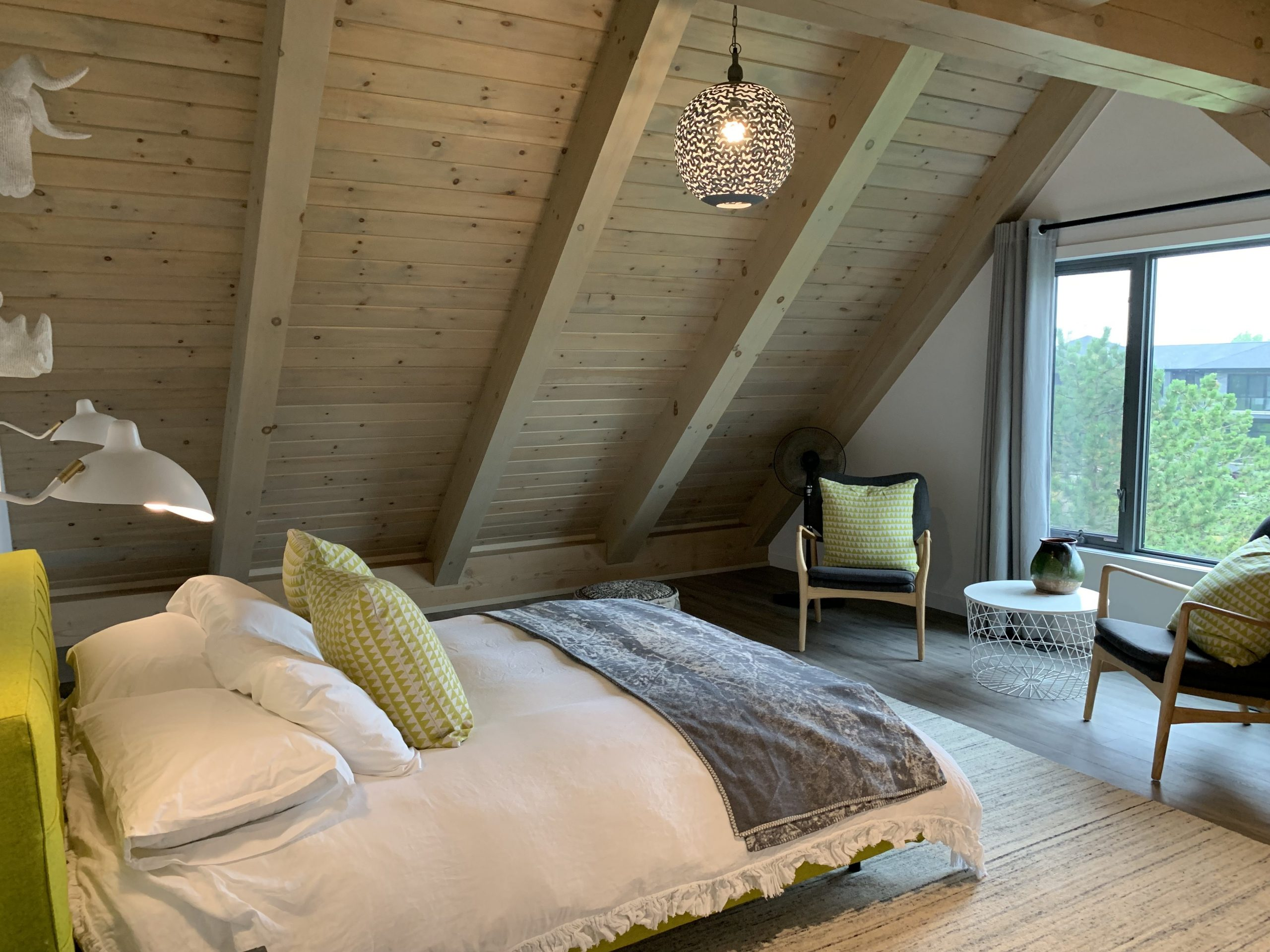 Normerica Timber Frame, Interior, Bedroom, Sloped Ceiling, Modern, Contemporary