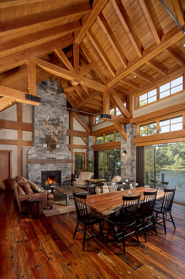 Normerica Timber Frame, Interior, Cottage, Cathedral Ceiling, Open Concept, Fireplace, Living Room, Great Room, Dining Room