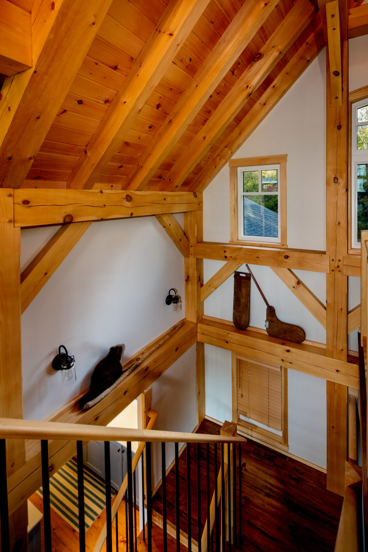 Normerica Timber Frame, Interior, Cottage, Stairs, Cathedral Ceiling