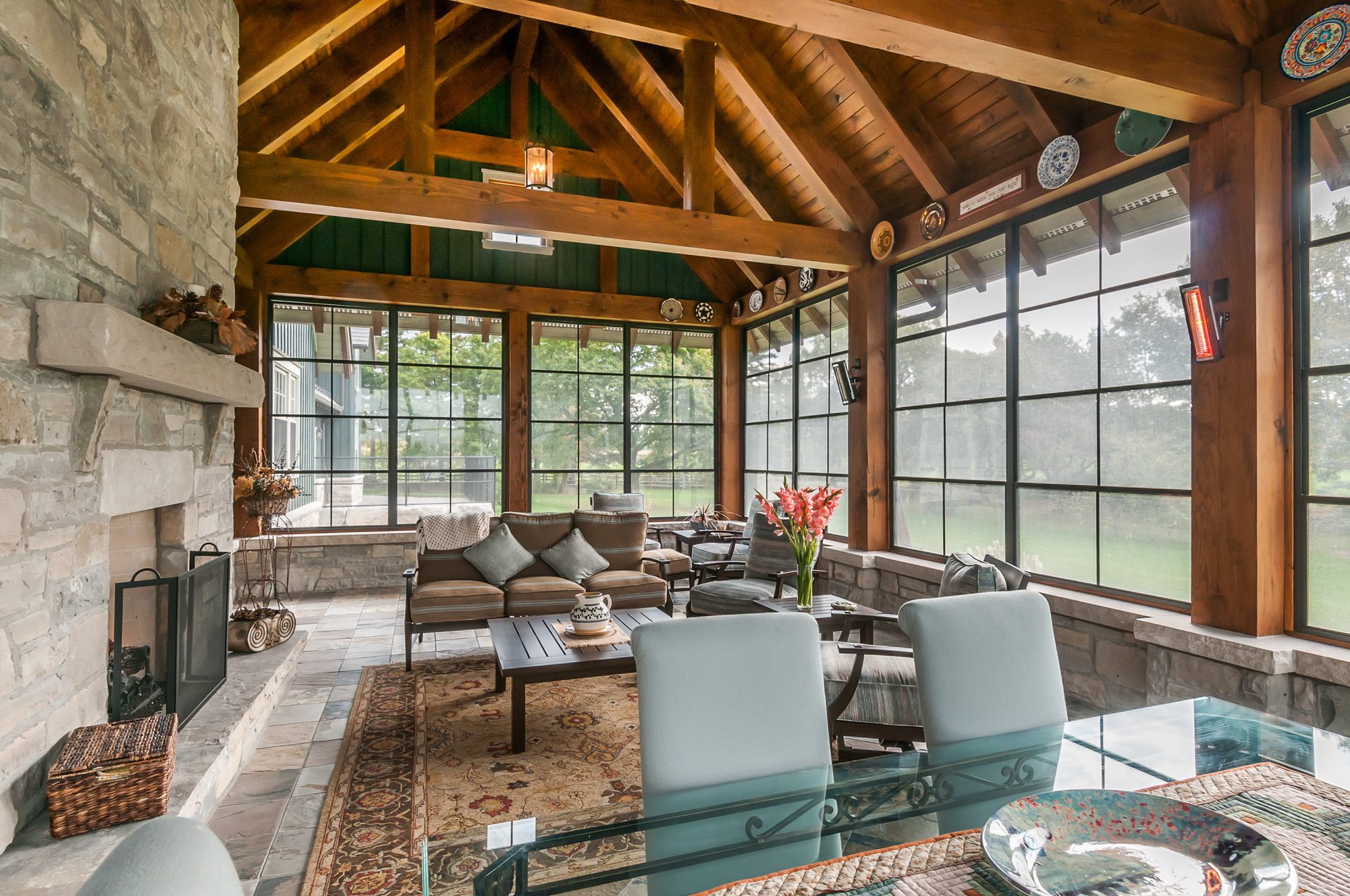 Normerica Timber Frame, Interior, Country House, 3 seasons room, Screened Porch, Fireplace