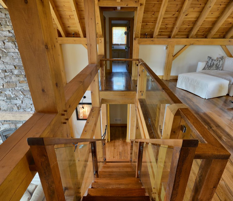 Normerica Timber Frame, Cottage, Interior, Stairs, Loft