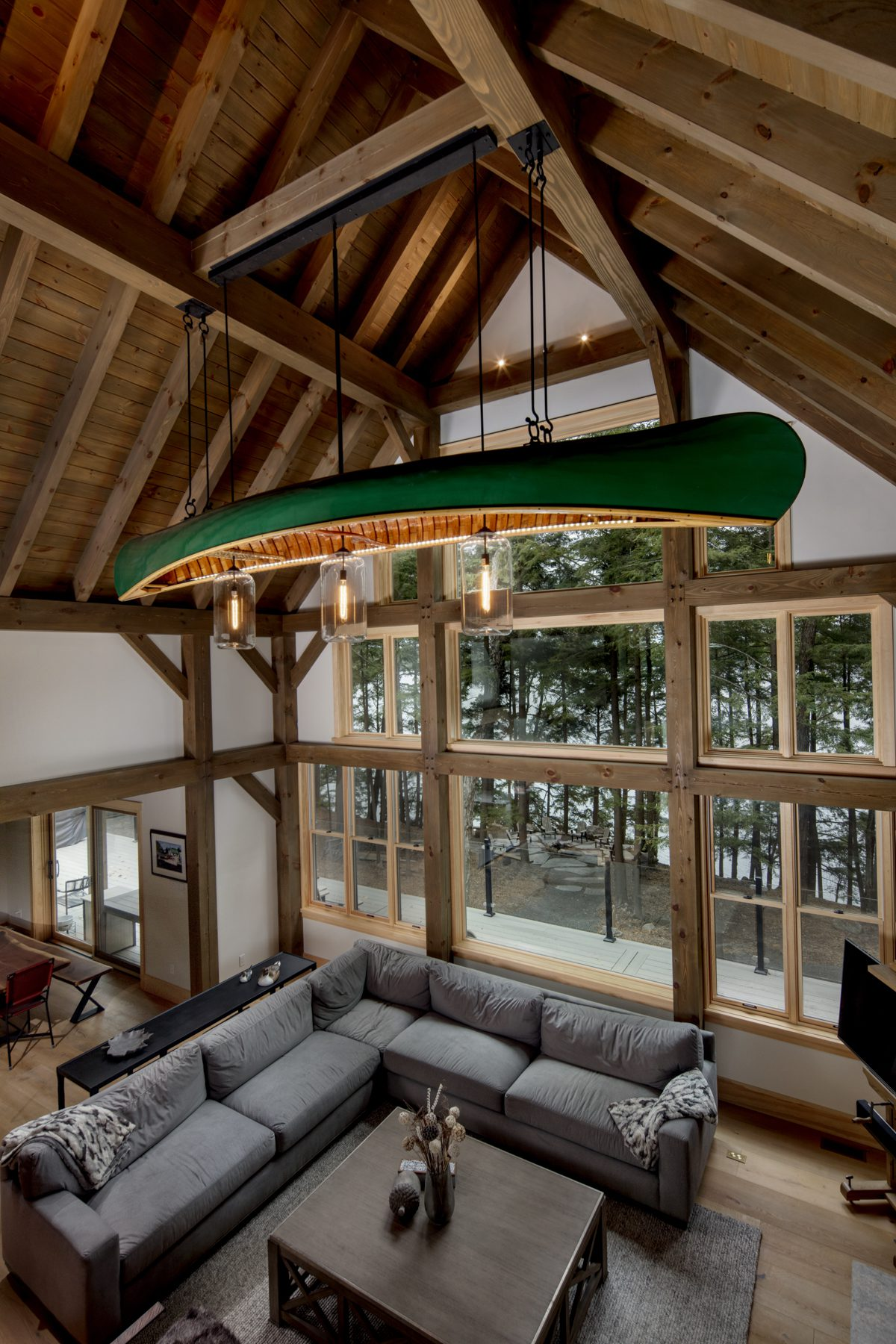 Normerica Timber Frame, Interior, Cottage, Great Room, Living Room, Cathedral Ceiling, Canoe Light Fixture