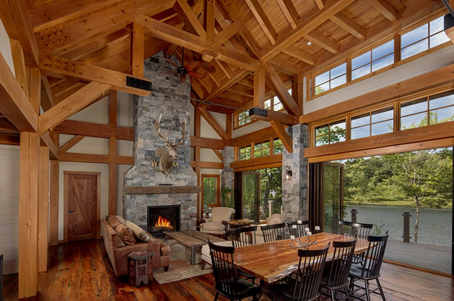 Normerica Timber Frame, Interior, Cottage, Great Room, Living Room, Dining Room, Open Concept, Cathedral Ceiling, Fireplace
