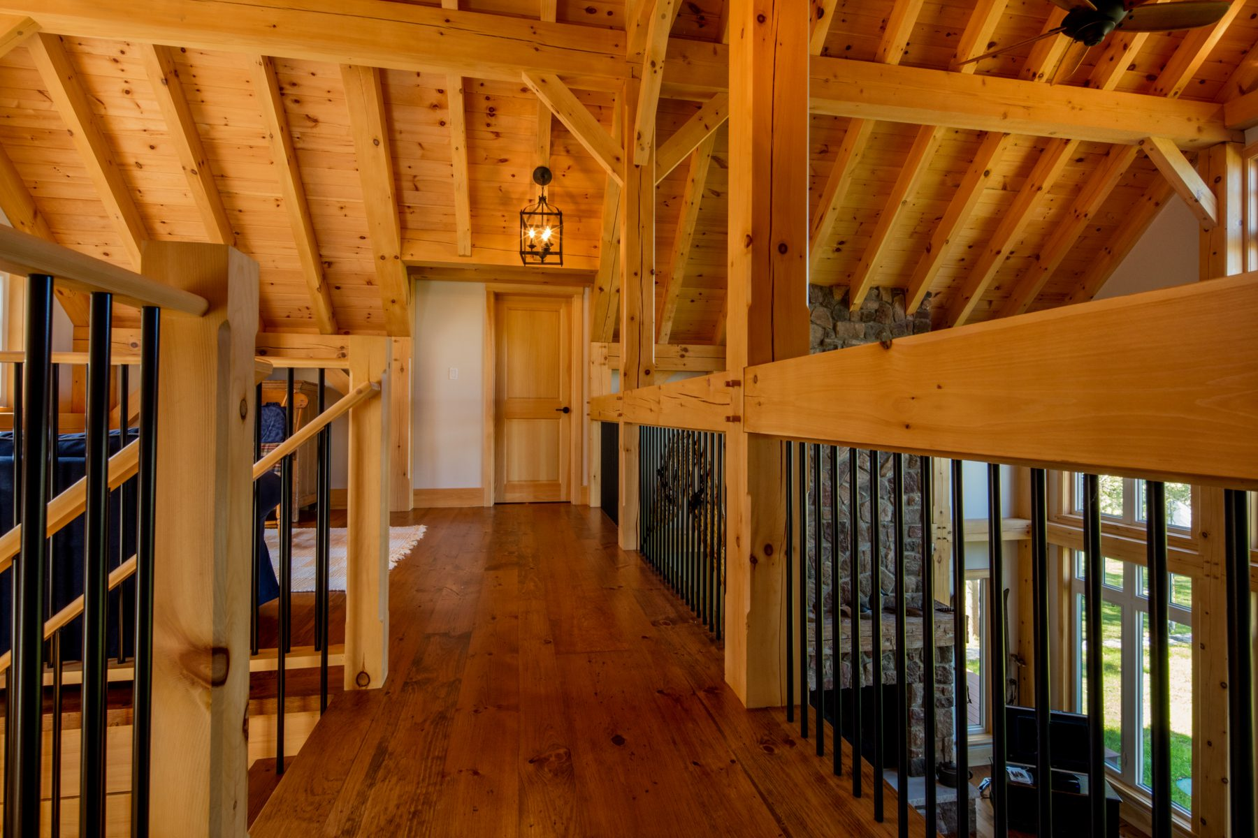 Normerica Timber Frame, Interior, Cottage, Hallway, Stairs, Cathedral Ceiling