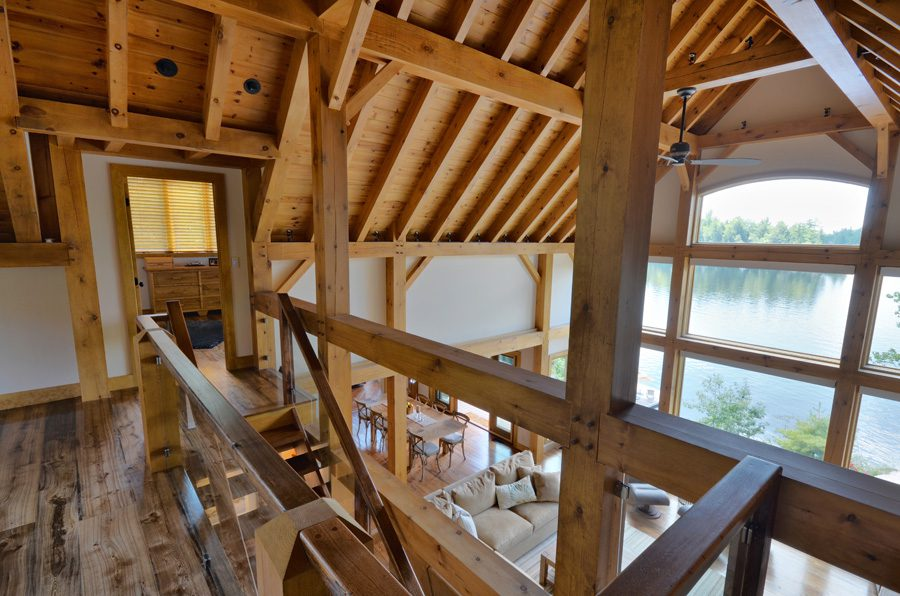 Normerica Timber Frame, Cottage, Interior, Stairs, Cathedral Ceiling, Loft