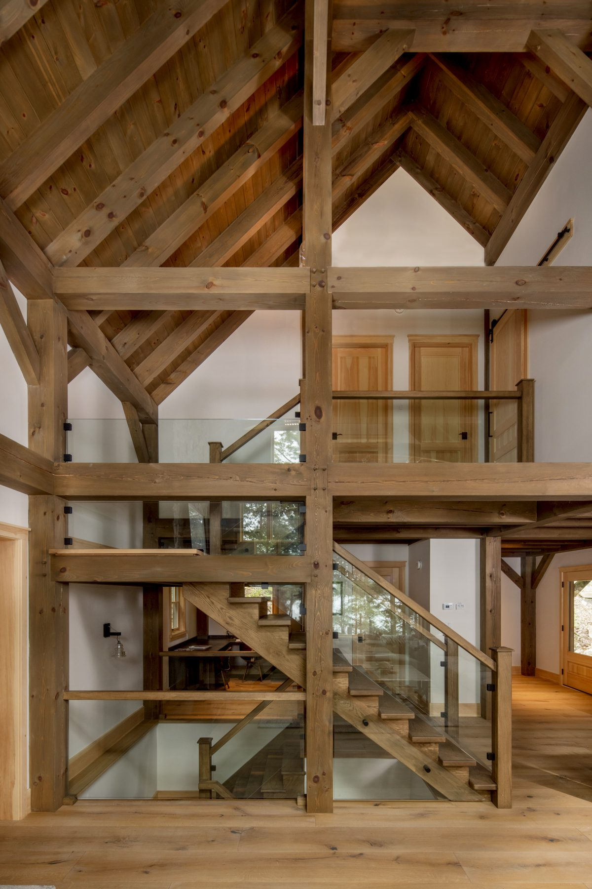Normerica Timber Frame, Interior, Cottage, Cathedral Ceiling, Stairs, Glass Railing