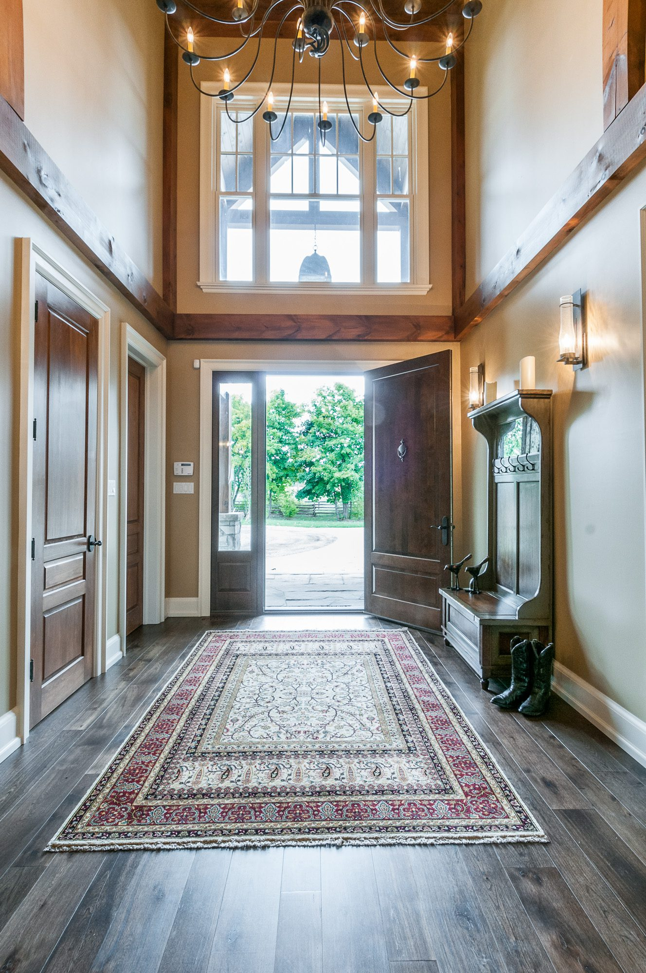 Normerica Timber Frame, Interior, Country House, Front Hall Entry