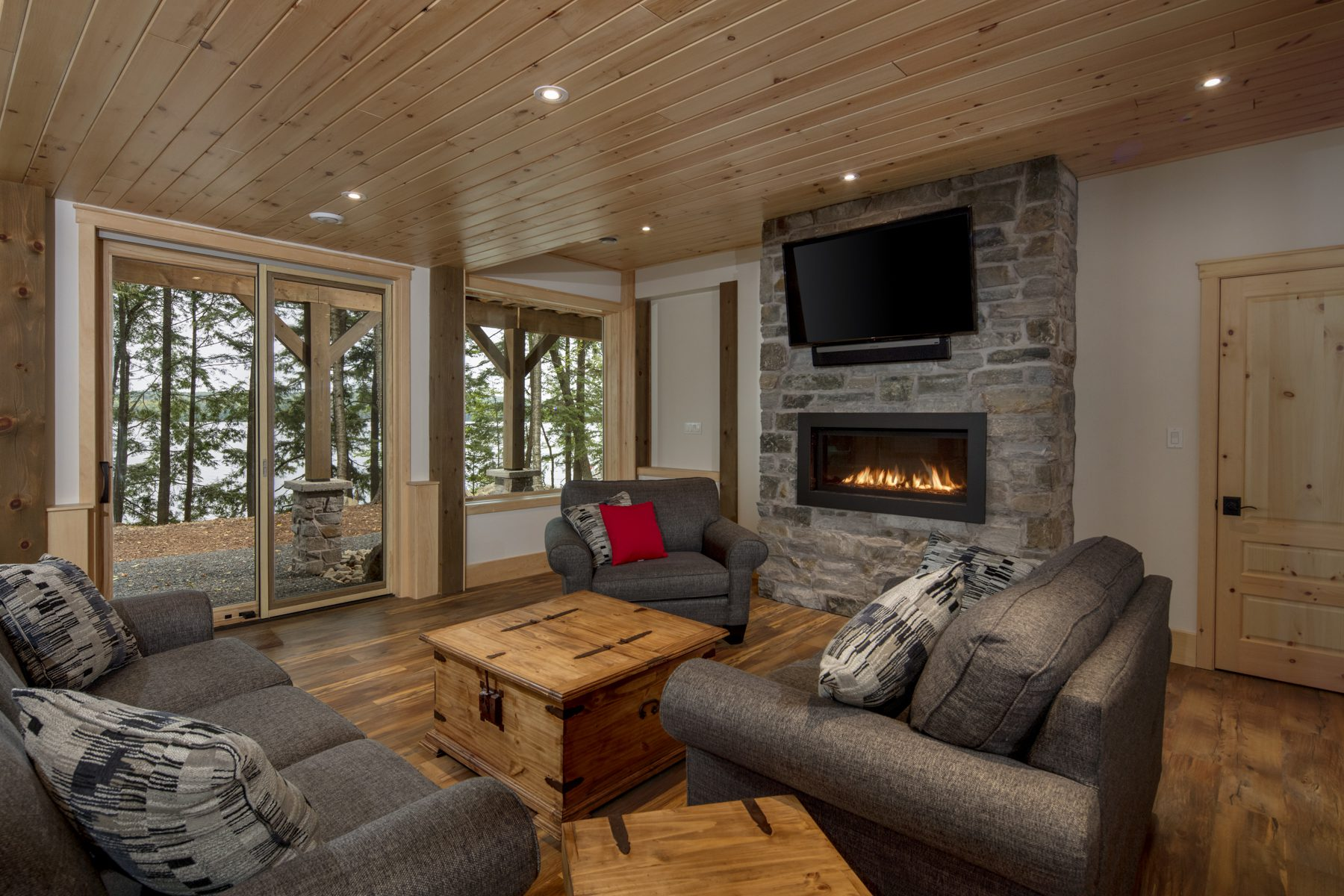 Normerica Timber Frame, Interior, Cottage, Fireplace, Media Room, Family Room, Walkout Basement