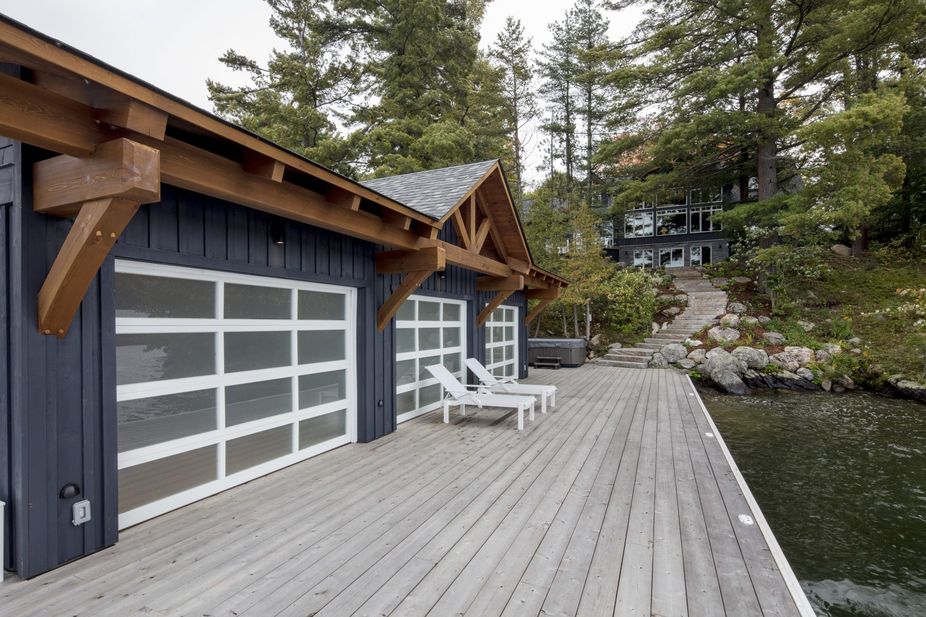 Normerica Timber Frame, Exterior, Cottage, Boathouse, View to the Cottage