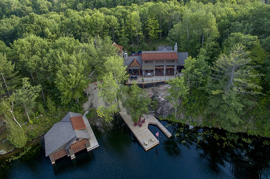 Normerica Timber Frame, Exterior, Cottage, Aerial View, Boat House, Dock