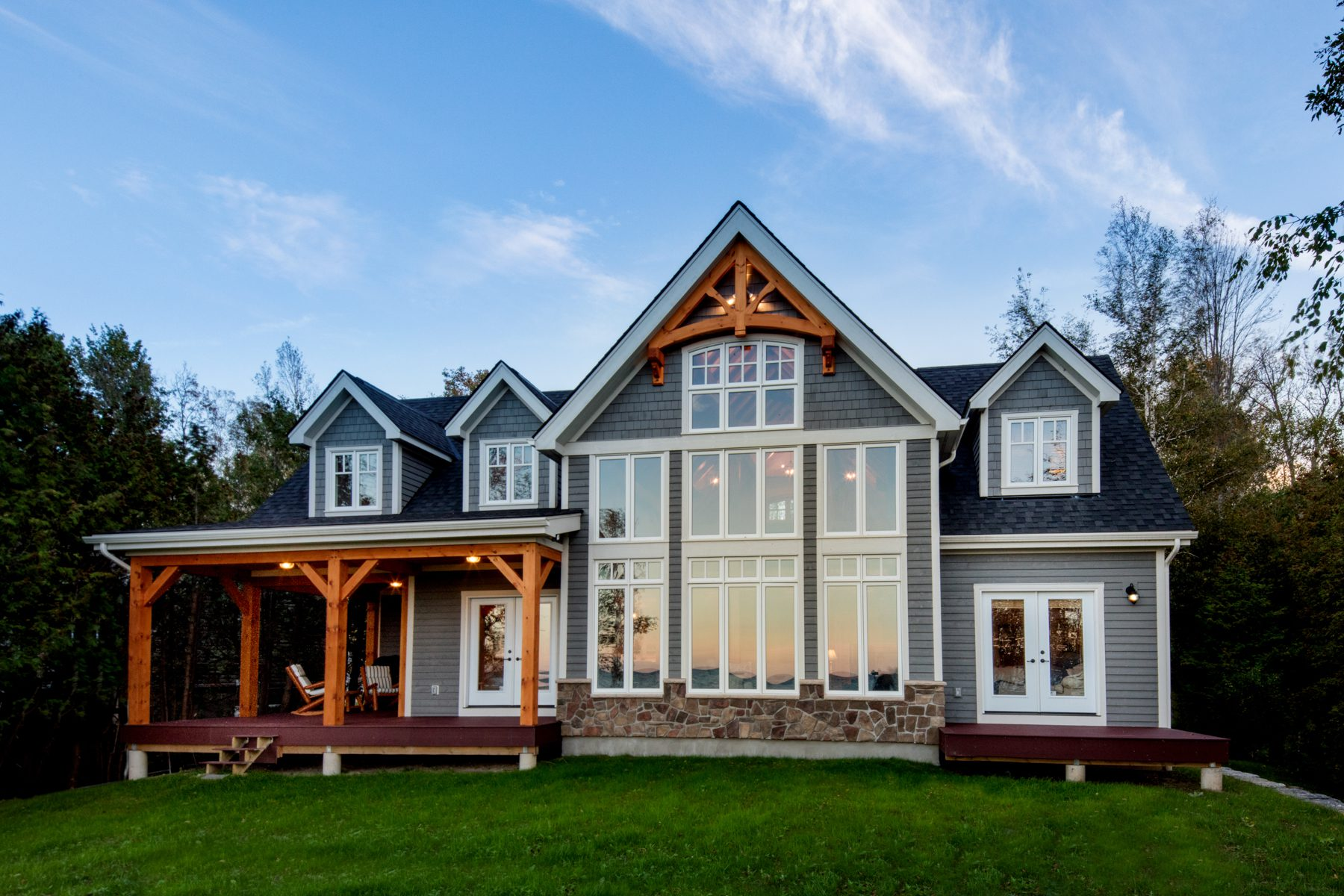 Normerica Timber Frame, Exterior, Cottage, Backyard, Covered Porch, Rear View, Lake View